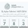 Üç Aylar Takvimi 2016/1437